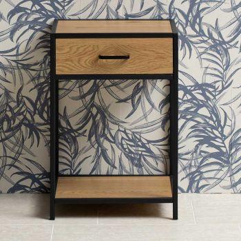Table de chevet Dover 1 tiroir - noir/chêne sauvage
