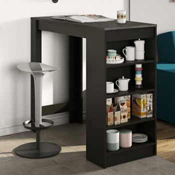 Table de bar Aravis 115x50 avec rangement - noir/béton