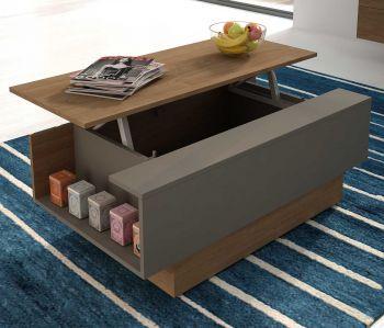 Table basse Nomi 110x57 avec plateau relevable - brun