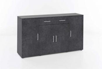 Bahut Denise 4 portes & 2 tiroirs - gris graphite