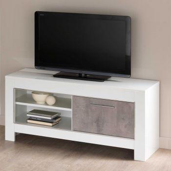 Meuble TV Modena 112 cm - blanc/béton