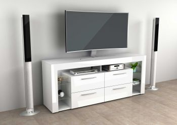 Meuble TV Vidi 180 cm - blanc brillant