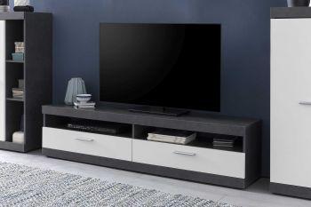 Meuble TV Otis 160cm avec tablette murale - blanc/gris graphite