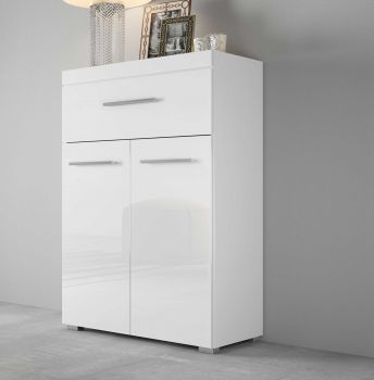 Bahut Tristan 2 portes & 1 tiroir - blanc brillant