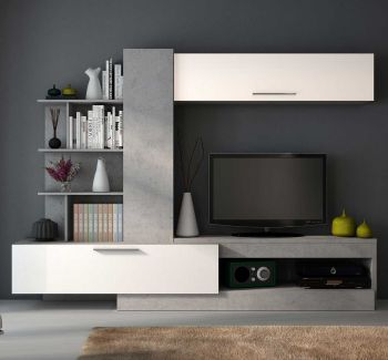 Meuble tv Zomi 260cm - béton/blanc brillant
