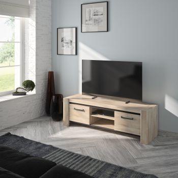 Meuble TV Jacob 160cm 2 portes - chêne Kronberg clair