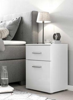 Table de chevet Bedside 1 tiroir & 1 porte - blanc brillant