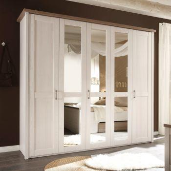 Armoire à vêtements Larnaca 241cm avec 5 portes - blanc
