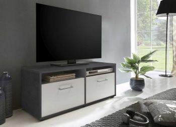 Meuble TV Sami 2 portes 95cm - blanc/gris graphite