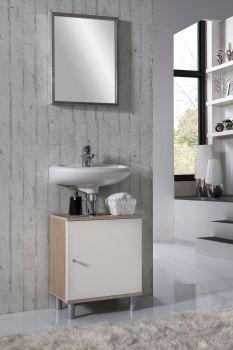 Meuble sous lavabo Rowan - blanc/chêne