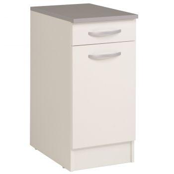 Meuble bas Oke 40x60 cm avec tiroir et porte - blanc
