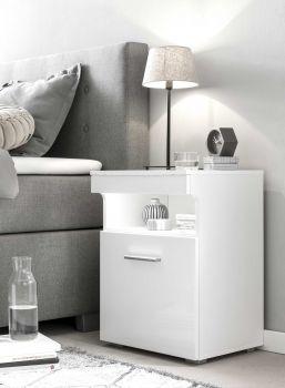 Table de chevet Bedside 1 porte - blanc brillant