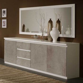 Bahut Roma 3 portes & 3 tiroirs - blanc/béton