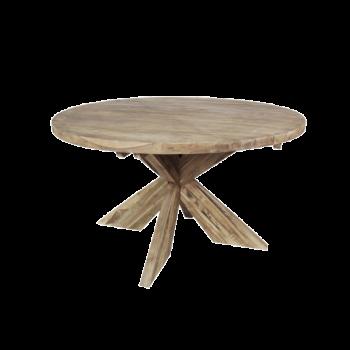 Table à manger Mosy ø150cm ronde au pied croisé - naturel/teak