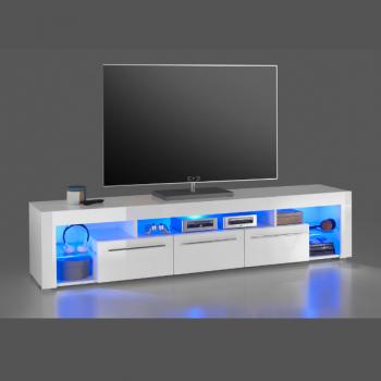 Meuble tv Gazza 200cm avec 3 tiroirs - blanc