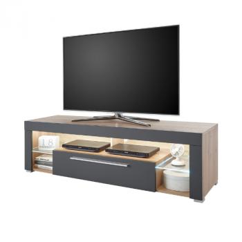 Meuble tv Gazza 153cm avec 1 porte - gris/chêne