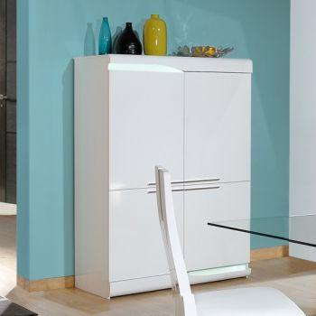 Vaisselier Ovar 120cm 4 portes - blanc brillant