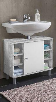 Meuble sous lavabo Benja 1 porte & 6 niches - blanc/béton