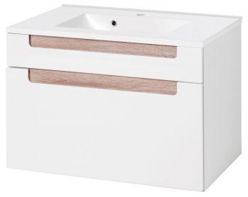 Meuble lavabo Siena 80cm - blanc/brun
