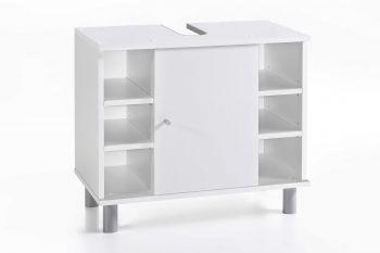 Meuble sous lavabo Benja 1 porte & 6 niches - blanc