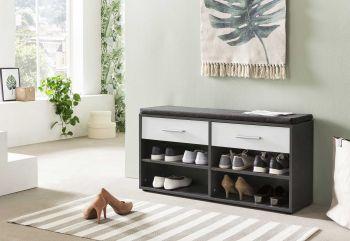 Armoire à chaussures Karin 2 tiroirs avec coussin - blanc / gris graphite