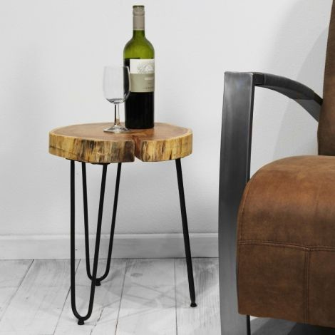 Table d'appoint Live Edge medium - acacia/fer