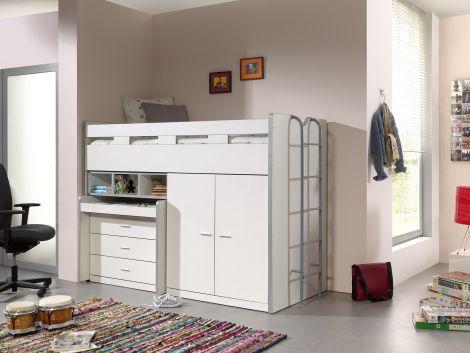 Lit mi-hauteur Bonny 70 avec bureau, commode et armoire - blanc