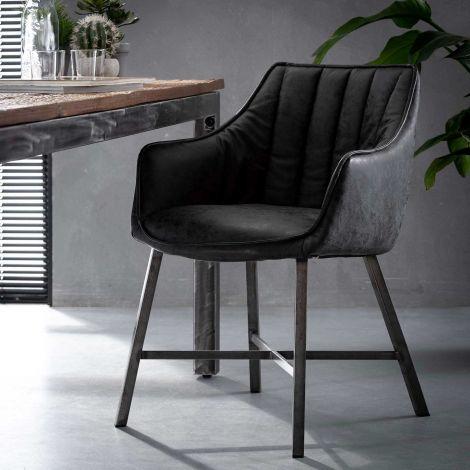 Lot de 2 fauteuils de salle à manger Strike - noir