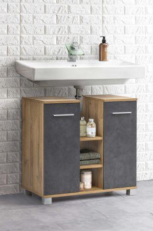 Meuble sous lavabo Kao 2 portes & 3 niches - chêne vieilli/gris graphite