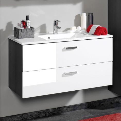 Meuble vasque Bobbi 100cm 2 tiroirs - graphite/blanc brillant