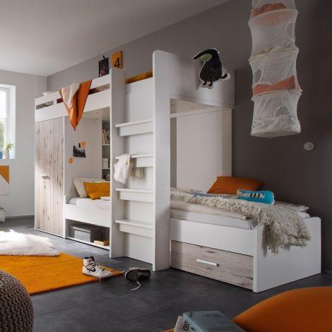 Lit superposé avec armoire Lopes - blanc/chêne sablé