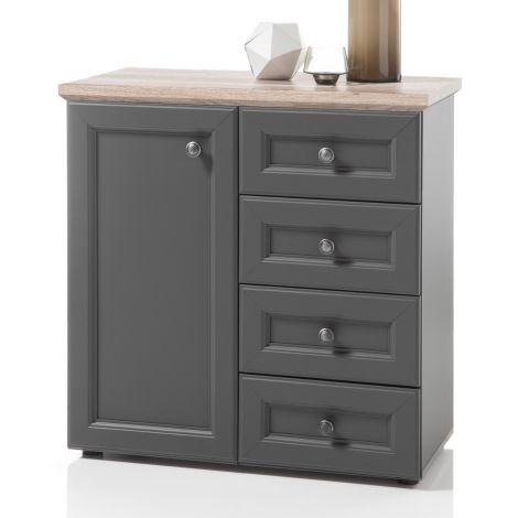 Armoire d'appoint Norah 82cm avec porte & 4 tiroirs - gris/brun