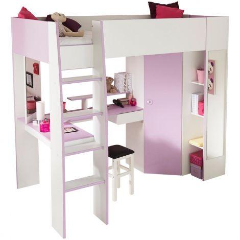 Lit en hauteur Malia rose/blanc - avec bureau et garde-robe