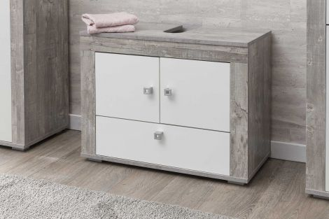 Meuble sous lavabo Rutger 3 portes - blanc/béton