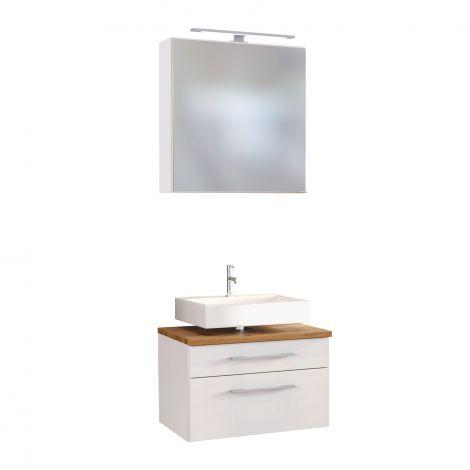 Set meuble sous lavabo & armoire de toilette Dasa 60cm - blanc