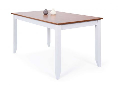 Table à manger Westerland 160x90cm - blanc/brun