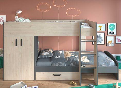 Lit superposé Mist avec armoire & tiroir - chêne/gris