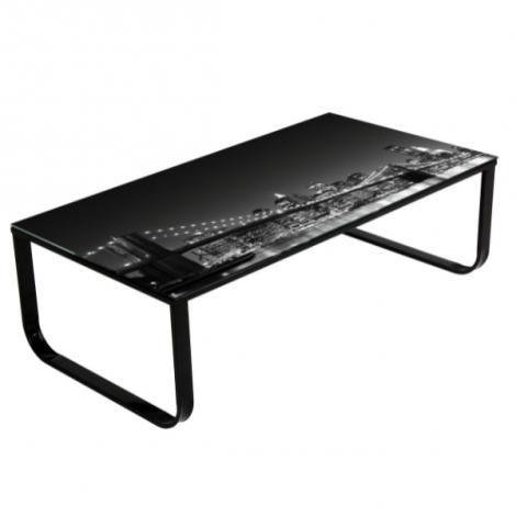 Table basse Brooklyn 105x55 métal & verre - noir