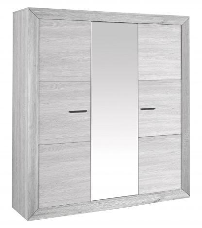 Garde-robe Neal 200cm avec porte miroir - chêne gris