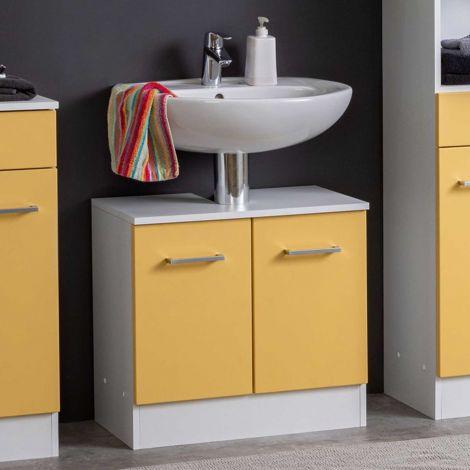 Meuble sous lavabo Ricca 60cm 2 portes - blanc/jaune