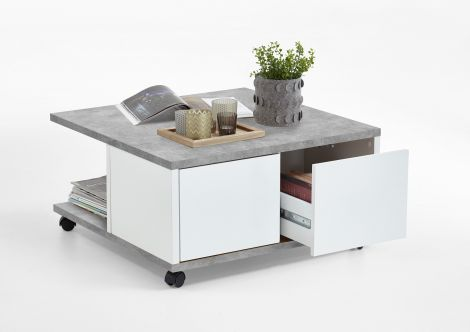 Table basse Twiggy - béton/blanc brillant
