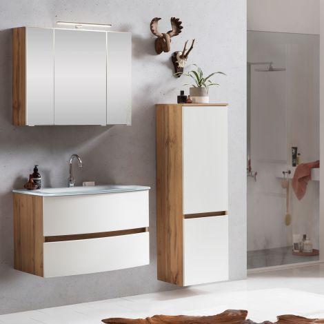 Ensemble salle de bains Kornel 3 à 3 pièces avec vasque blanche - chêne/blanc mat