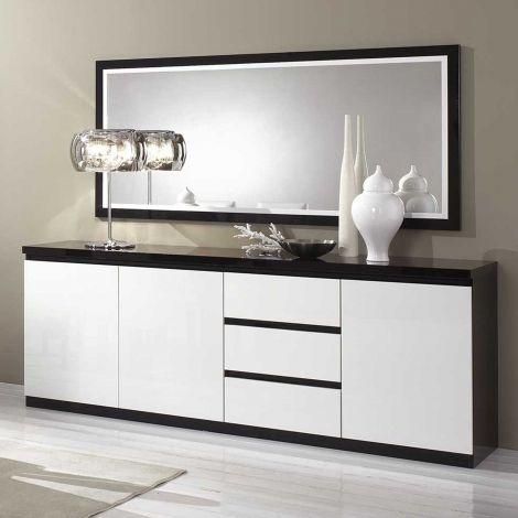 Bahut Roma 3 portes & 3 tiroirs - noir/blanc