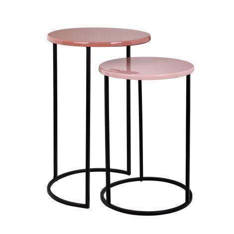 Lot de 2 tables d'appoint Yorke - rose/noir