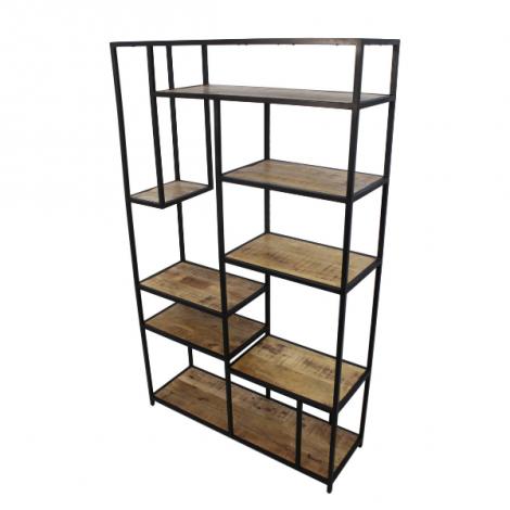 Armoire à compartiments ouverts Levels 80cm - bois de manguier/fer
