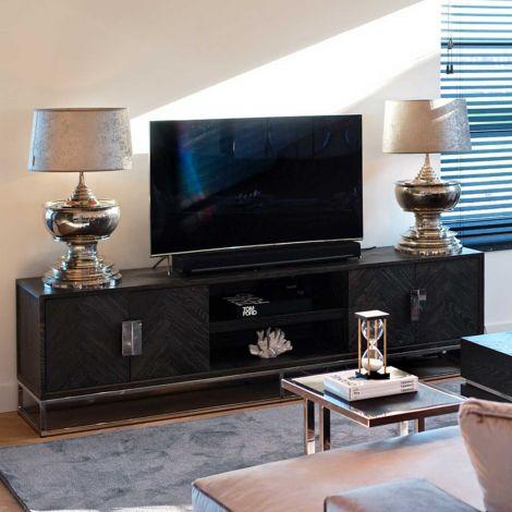 Meuble tv Bony 220cm 4 portes - noir/argent