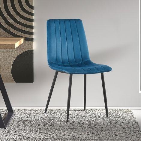 Lot de 2 chaises velours Willie - bleu/noir