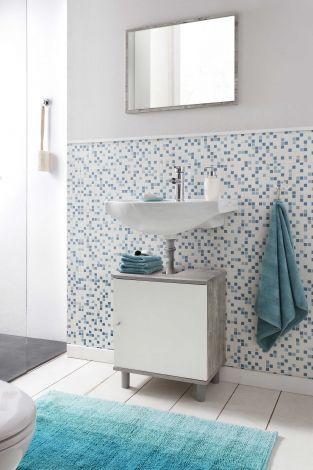 Meuble sous lavabo Rowan - blanc/béton