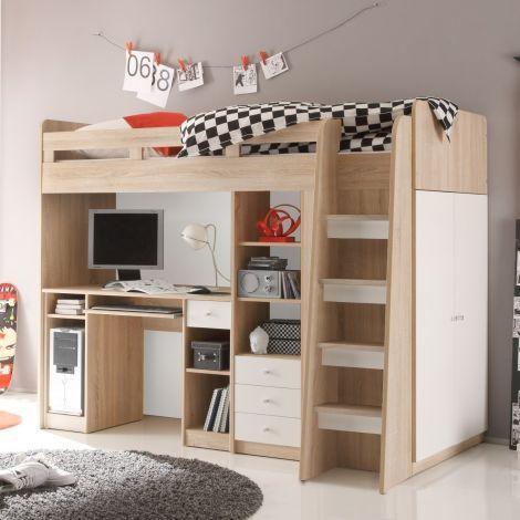 Lit mezzanine 90x200 avec bureau - chêne/blanc