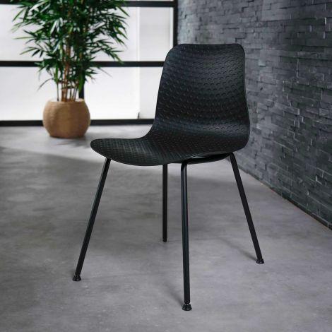 Chaise cadre en poudre PP - Lot de 4 - Noir
